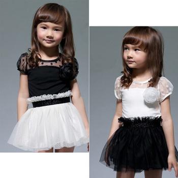 New Kids Toddlers Girls White Black Flower Princess Tutu Mini Dress 2 7yrs