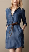 Free shipping Fashion  Slim Jeans Denim Dress  Women's  Blue Solid Color S M L Long Sleeve Good Quality