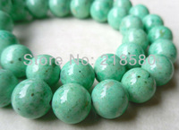 H-FB02  5 strands/lot 15.5 inch Round Green Fossil Riverstone Beads  6mm 8mm 10mm 12mm