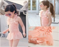 hot! retail baby girls lace Ruffle Flowers swimwear for Little Girls halter Swimsuit beach wear free shippng