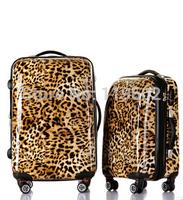 Women's leopard print trolley leopard print luggage travel bag 20 24