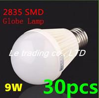 30pcs/lot E27 9W 2835SMD AC85-265V Bubble Ball Bulb High power Energy Saving Ball LED Light Bulbs Lamp Lighting Free shipping