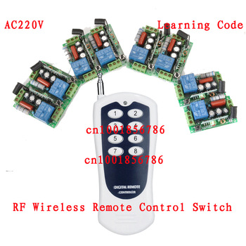 220V 1CH Radio Remote Control Switch light lamp LED ON OFF 8Receiver&1transmitter Learning Code Output Adjusted