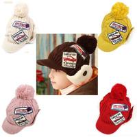 New 2013 Boy & Girls Winter Cap labeling Letter Yarn Warm Hat Thicken Kid Fashion Knitted Velvet Bonnet For Children
