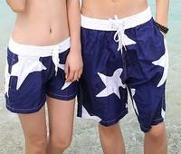 2015 Summer Shorts Woman Beach Couple Swimming Shorts Feminino Holiday Wear Surf Blue Star Printed Beachwear