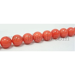Shell Pearl Beads Strands, Polished, Grade A, Dyed, Coral, Round, about 8mm in diameter, hole: about 0.8mm(China (Mainland))