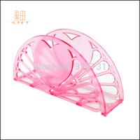 Free Shipping Tissue Box Translucient Plastic Hollow 2014 Classic Design Wedding Hotel Napkin Holder Seat Type Sheet Paper Pink