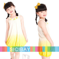 new summer beach casual flower design baby girl dresses kids sleeveless clothes girls dress Free Shipping K0378