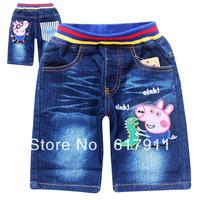 2014 New Peppa Pig Summer Boys Shorts Jeans Boys Cloth Kids Shorts Children's Jeans Shorts Kids Denim Cloth Boys Cartoon Clothes