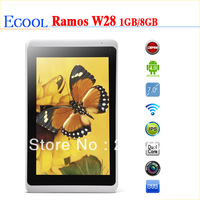 Hot Ramos W28 Android 4.0 Dual Core 8GB 1080P 7 inch Capacitive Multi-Touch Screen Multi-Language 1280*800 pixel tablet PC