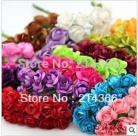 Free shipping (144 pcs/lot) 12 colors mix color wholesale 1.5cm rose diy flower gift box paper flower