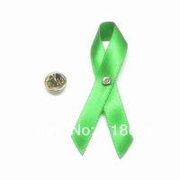 Freeshipping 500pcs  Lime or Green Polyester Satin Ribbon Kidney Cancer Awareness Bows with Brooch