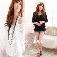 Black & White Sexy Ladies Women Brand New  2-Piece Lace Tops Off Shoulder T-Shirt Free Shipping