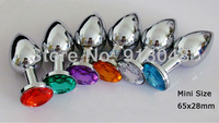 Free Shipping Silver 65x28mm Mini size Metal Anal Toys, Butt Plug, Booty Beads, Stainless Steel+Crystal Jewelry, Sex Toys