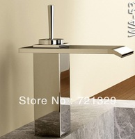 waterfall Chrome plated bass basin faucet/tap  Pro Bathroom surface Mount Single Hole Chrome Finish Faucet Waterfall Tap