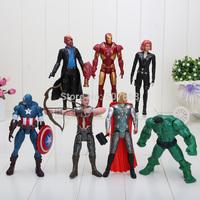 7pcs/set 15cm  Marvel The Avengers Iron man Hulk Thor Captain America Black widow Figure