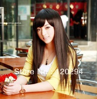 Full Wig Simple Natural Style Vietnamese Bangs , Long Straight Hair Wig Synthetic And Three Colours Free Shipping
