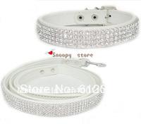 New Bling Rhinestone Crystal Jeweled PU Leather Pet Cat Dog Collar + Leash Set 3 Color WHITE PINK BLACK Free Shipping