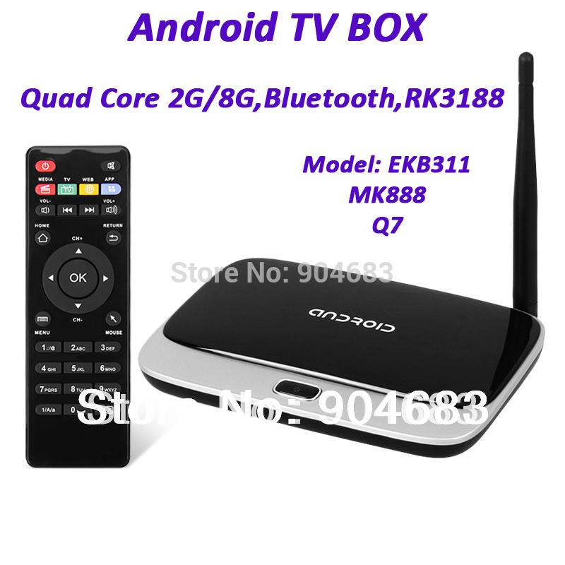 EKB311 MK888 CS918 Q7 Quad Core Google Android TV BOX 4.2.2 RK3188 Cortex HDMI Player 2G/8G Bluetooth(China (Mainland))