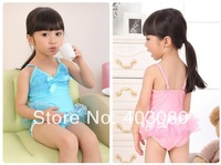 1lot/5pcs wholesales 2013 newest 2-6 year girl ONE PIECE swimwear&Swimming cap,kid swimsuit,baby bikini&Free shipping