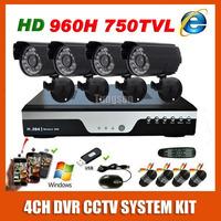 Home HDMI Surveillance Full D1 DVR Sony 960H Effio 750TVL Waterproof Night Vision Camera Kit CCTV Security 4CH Video System