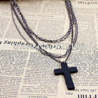Fashion  hot sale  multilayer chains black cross Pendant necklace