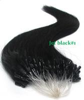 0.5g/ strand top qulity queens brazilian hair micro loop hair extensions unprocessed virgin hair weaves jet black#1