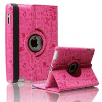 Hot! Free Shipping 360 Degree Rotating Magic Girl PU Leather Case for iPad 2 3 4 Magnetic Stand Smart Cover For ipad4 Csaes flip