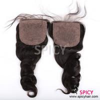 Factory price super quality silk top closure brazilian hair natural wave silk base closure