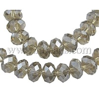 Glass Beads Strands,  Pearl Luster Plated,  Crystal Suncatcher,  Faceted Abacus,  DarkGray,  12x8mm