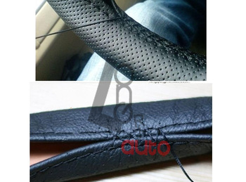 Leather Steering Wheel Cover DIY Car Protector With Needles Thread Steering Wheel Cover Gray/Black/Beige Free Shipping