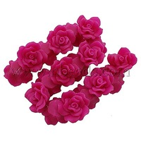 Handmade Polymer Clay Beads Strands,  Rose Flower,  Fuchsia,  30x15~18mm,  Hole: 2mm,  about 20pcs/strand