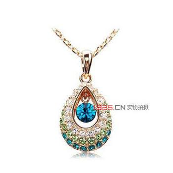 2014 newest design fashion individuality  Angel Eyes Luxury women Water drop CZ Diamond Crystal gem Necklace&Pendants A012