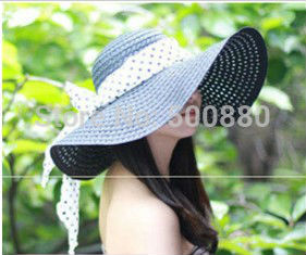 Free shipping 2013 summer Women's sunbonnet bow large brim beach hat summer straw braid hat