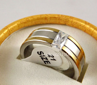 Wholesale 12 pcs Quality Gold edge Fashion Zircon Stainless steel Rings for Men and Women Fashion Jewelry