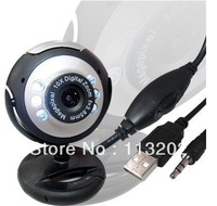 USB 6 LED 20 Mega Pixel Web cam PC Camera Webcam HD With Microphone For Computer PC Laptop With Retail Box