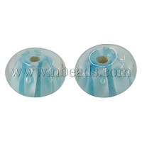 Handmade Lampwork Beads,  Rondelle,  SkyBlue,  about 12mm wide,  8~9mm long,  hole: 2mm