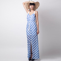 Fashion stripe spaghetti strap cross lacing placketing racerback stripe one-piece dress female long dress beach D13524