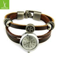 Drop Shipping Vintage Leather Dress Watches Bracelet for Women Men Analog Quartz Black Band WristWatch PI0505