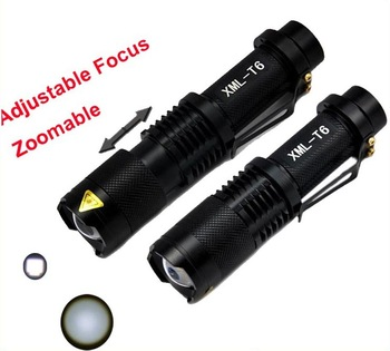 Mini adjustable CREE XML-T6 LED flashLight  Long distance 5 MODE ZOOM IN Torch  for camping Bicycle cycling hunting