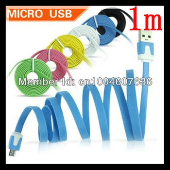 10PCS/LOT  New 1m Flat Type Micro USB Extension Data Sync Charging Cable For PDA Cell Phone