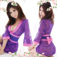 New 2014 flirt exotic underwear sexy sleepwear bathrobes women robe lace temptation japanese style kimono satin nightgown