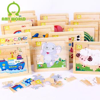 Educational Toys Wood Alphabet Number Animal Fruit Sheep Bus Vehicles Puzzle Birthday Gift DIY 172 Early Learning