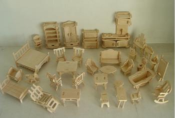 Furniture 3d Puzzle Wooden 3D Jigsaw  Model DIY, 1SET=34PCS Scale Models