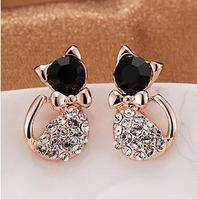C3R6 Fashion 2013 Gold Small Lovely Jewellery Full Rhinestone Cat Stud Earring