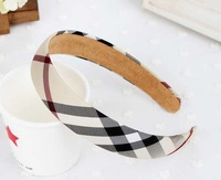 Wholesale classic British style plaid cover hair bands for women and kids girls hoops hair accessory headband free shipping