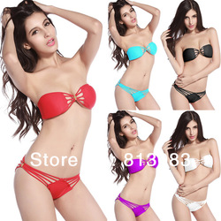 Free Shipping 2013 High Fashion Women Swimwear Sexy Swimsuit Bandeau Top and Brazilian Bottom Black Bikini Set(China (Mainland))