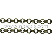 Iron Rolo Chain,  Lead Free and Nickel Free,  Antique Bronze Color,  Come On Reel,  Size: Chain: about 2.5mm in diameter