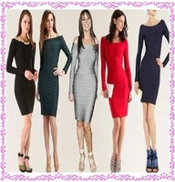 free shipping  slash neck long sleeve  thin sexy bandage dress for women