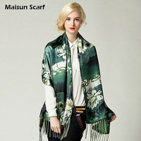 190 x 55cm Silk crepe satin plain 16mm tassels women silk scarf